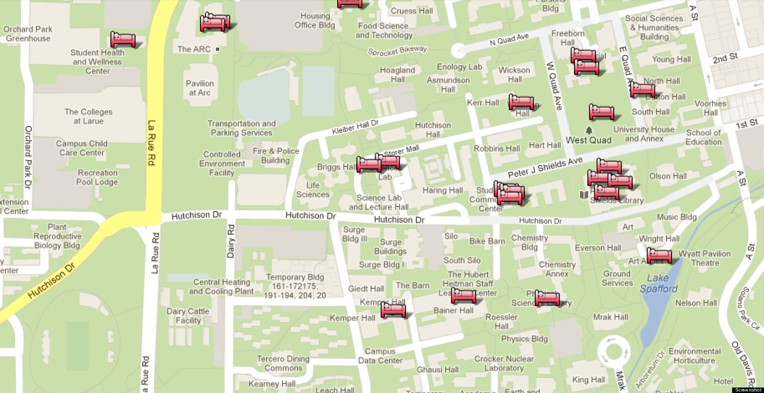 uc davis google map shows best nap spots on campus photo huffpost