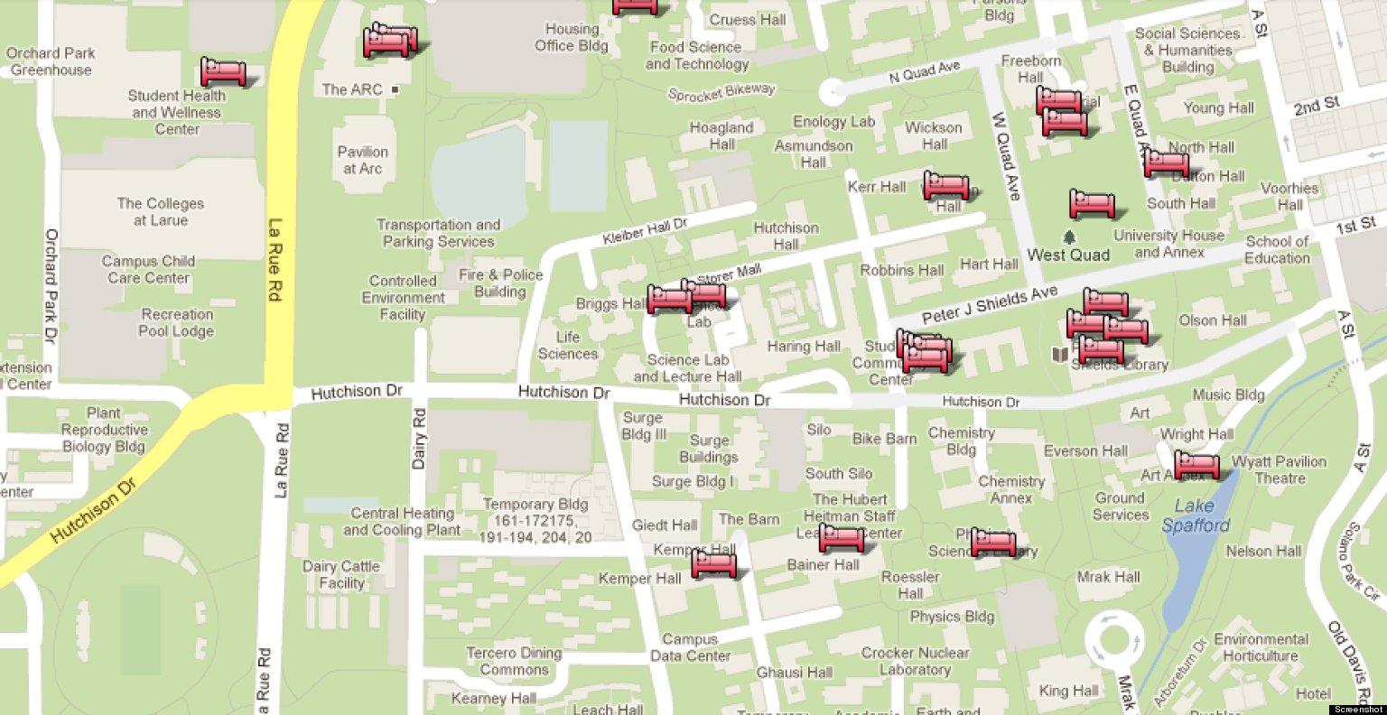 UC Davis Google Map Shows Best Nap Spots On Campus (PHOTO) Uc Davis Campus Map