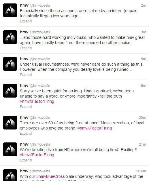 hmv twitter hijacked