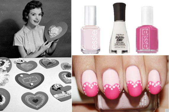 valentines nail art collage