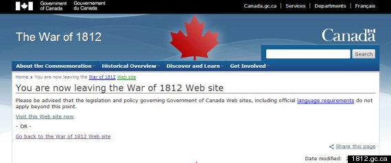 War Of 1812 Website Exit