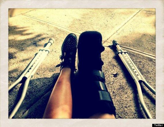 demi lovato crutches