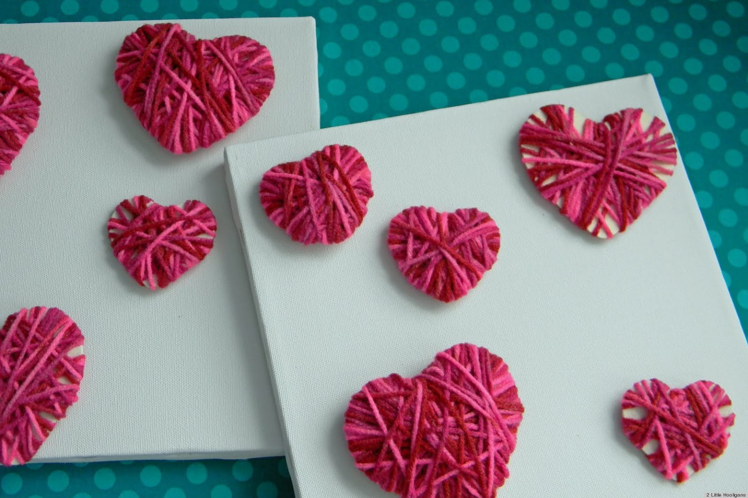 Valentine 39 s day ideas make these easy yarn hearts with for Crafts for valentines day ideas