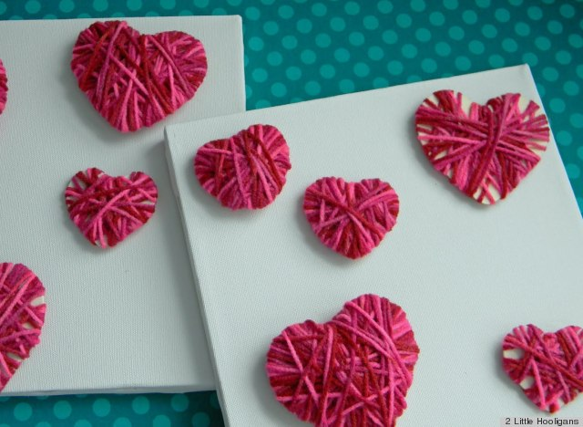 Valentine 39 s day ideas make these easy yarn hearts with for Craft ideas for valentines day