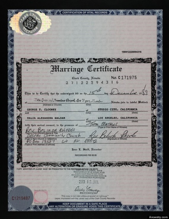 George Clooney\'s Marriage Certificate: Actor\'s 1989 Wedding License ...