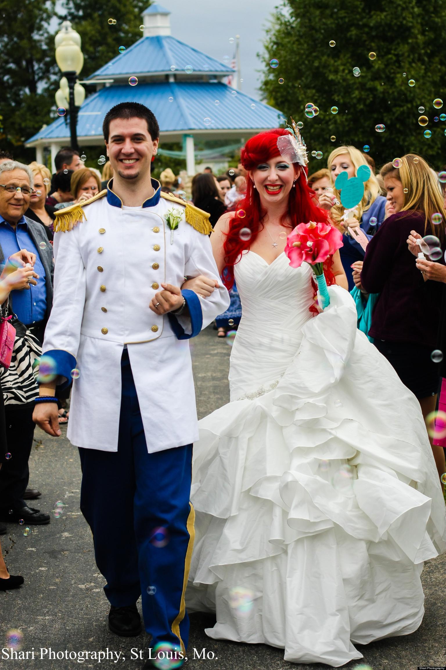 chandler throw over the top disney themed wedding photos huffpost