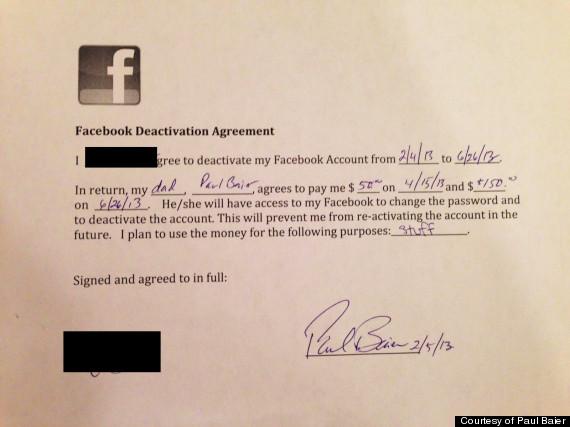 quit facebook agreement