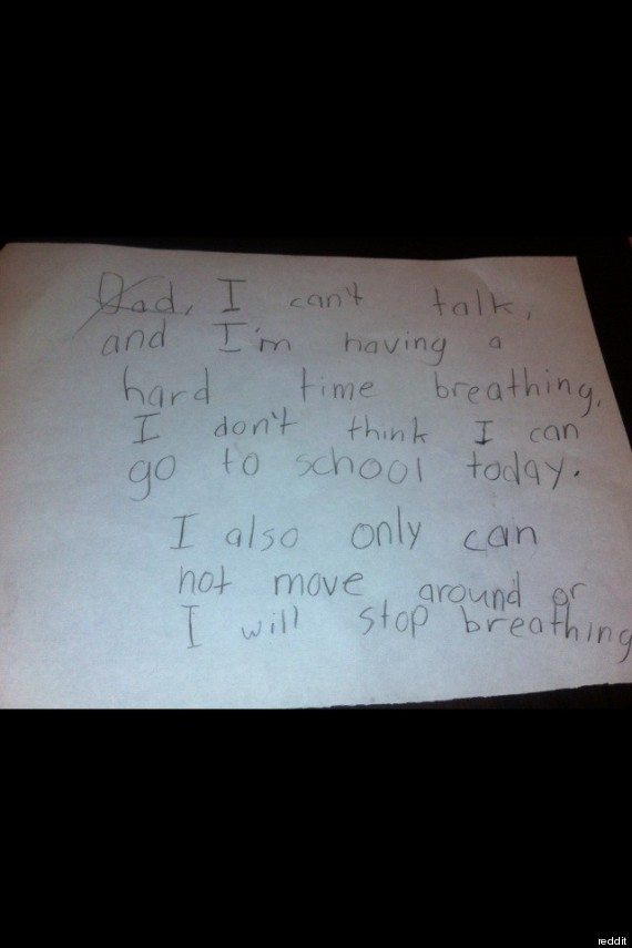 Fake Sick Note One 9 Year Old S Attempt To Get Out Of School PHOTO