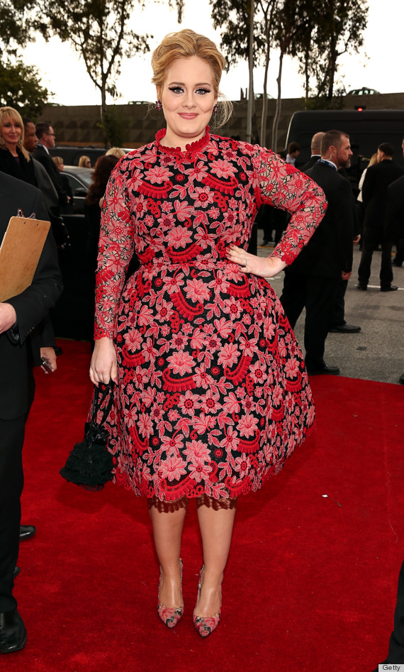 Adele Grammys Dress 2013 See The Singer S Red Carpet Look