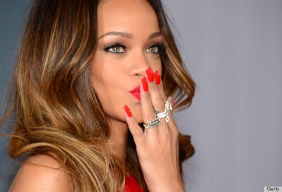 Rihanna Mixes Orange Red Nail Color Grammys
