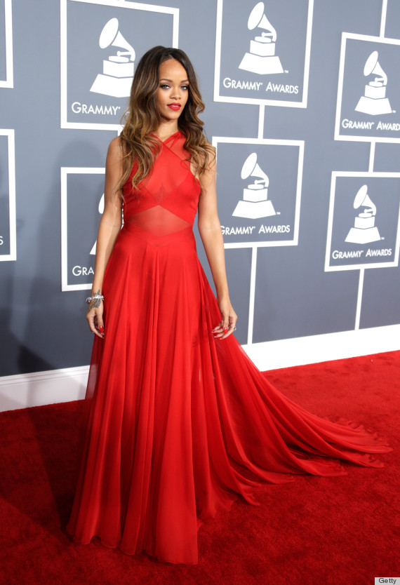 Rihanna's Grammys Dress 2013 Overshadows Her Dubious Romantic Choices