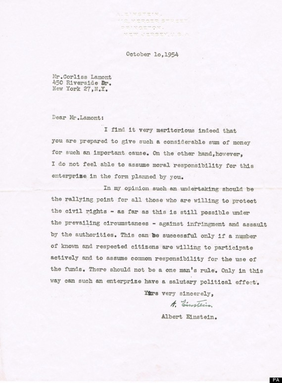 Albert Einstein Letters To Corliss Lamont To Sell At Auction