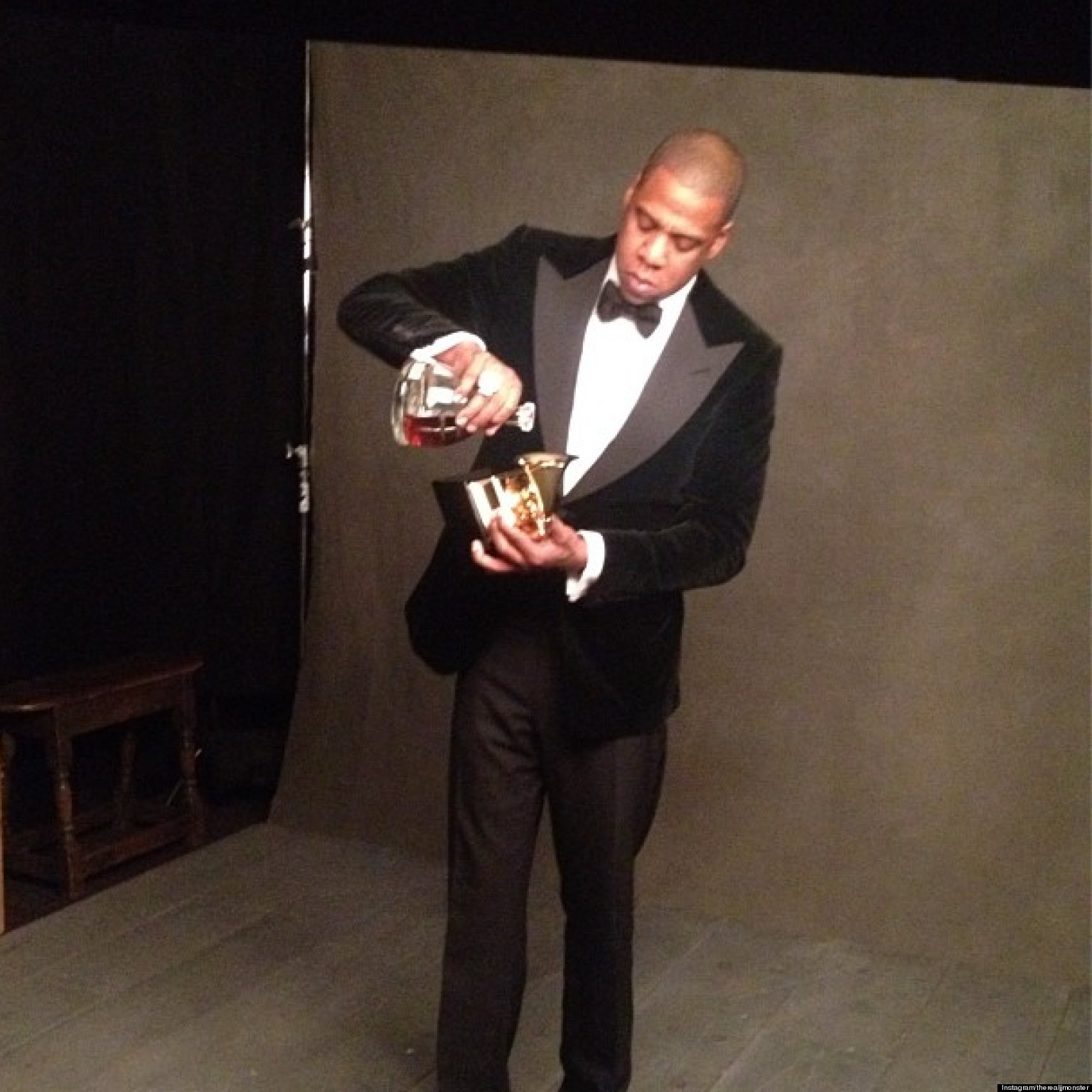 PHOTOS: Jay-Z Drank Cognac Out Of His Grammy Award