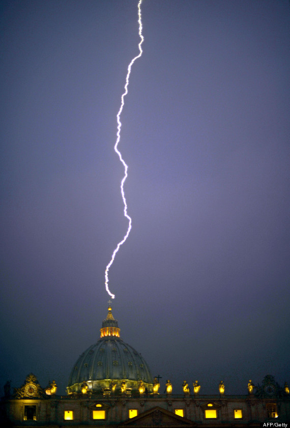 lightning hits the vatican