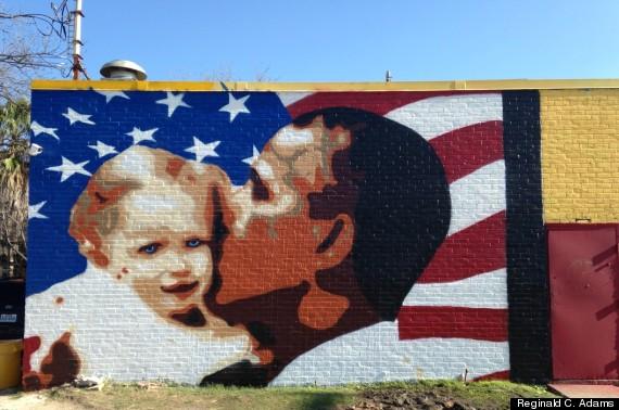 obama mural repainted