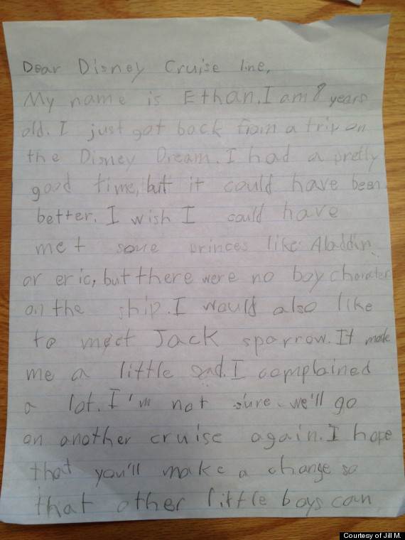 Cute kid note of the day dear disney cruise line huffpost ethan letter to disney spiritdancerdesigns Image collections