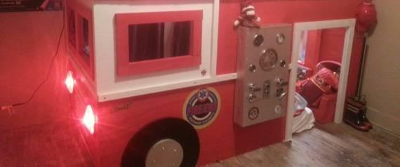 photos un papa construit un lit en forme de camion de pompier pour son fils. Black Bedroom Furniture Sets. Home Design Ideas